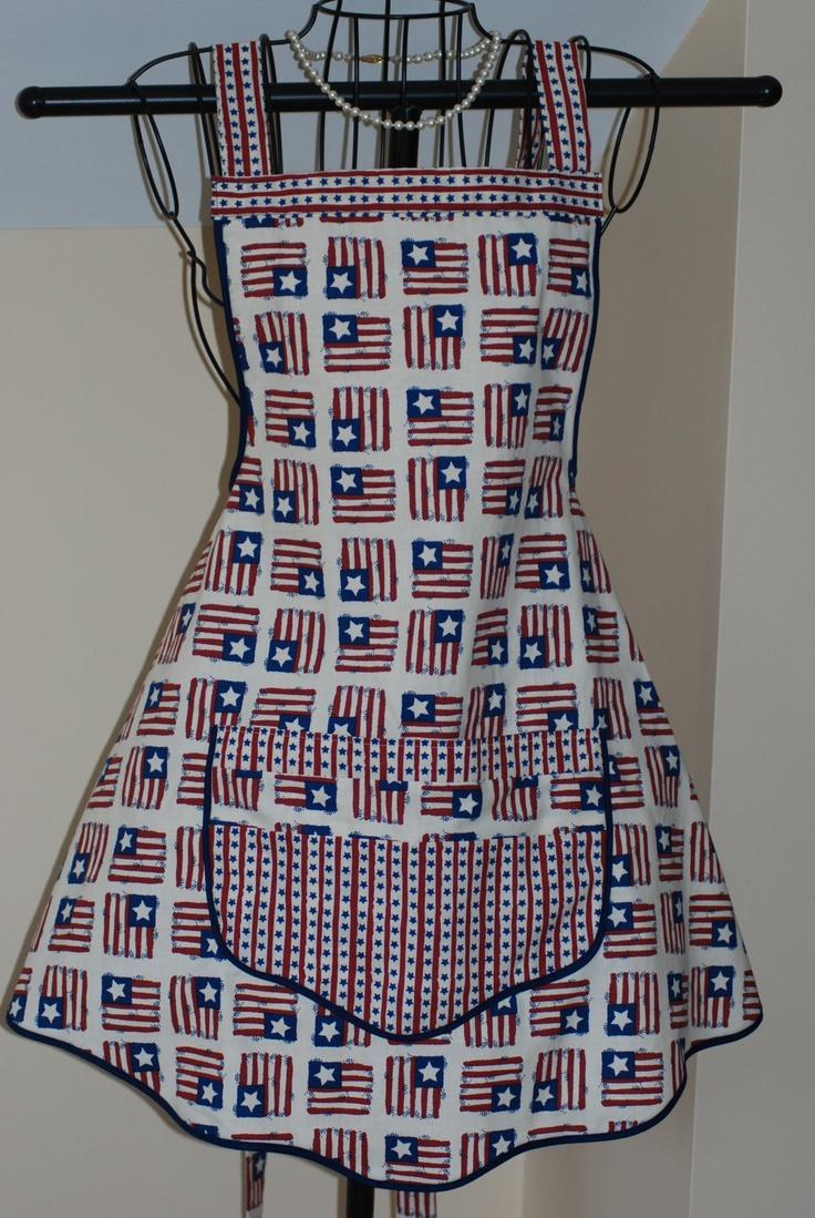 White apron inc brea ca - 4th Of July Flags Apron