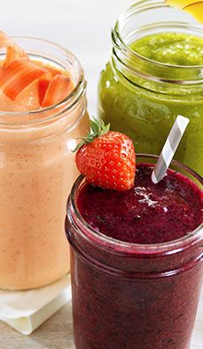 Hidden Veggie Smoothies - Shhh! We've got a secret. These delicious smoothies (Beet-Berry, Carrot Cake and Green Mango) are all made with fruits and veggies.