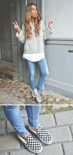checkerboard vans outfit