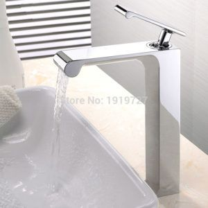 100% Solid Brass Unique High Quality Deck Mounted Chrome Basin Faucet Single Handle Hot & Cold Vessel Mixer Countertop Tap