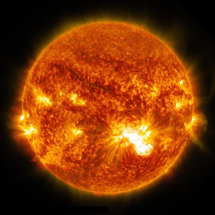 This full-disk image of the sun shows the location of the major X3.1 solar flare (lower right) on Oct. 24, 2014. The solar flare erupted from the largest sunspot on the sun in 24 years. <br />