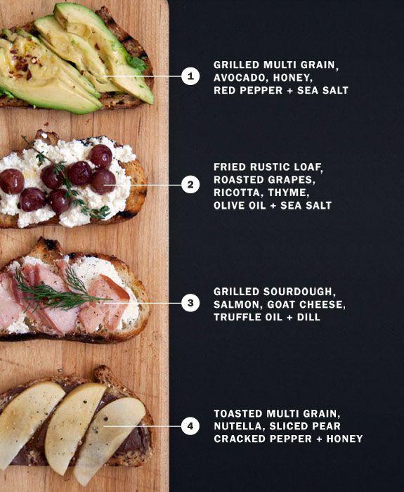 bruschettaIdeas, Healthy Snacks, Lunches, Breakfast, Food, Healthy Sandwiches, Toast, Appetizers, Bruschetta