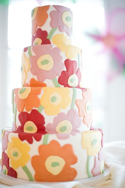 Wedding Cake with Abstract Flowers
