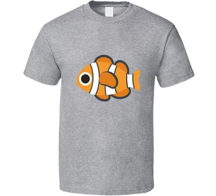 Brand Cotton Clothing Male Slim Fit T Shirt Gildan Casual  Nemo Fish Emoji T Shirt