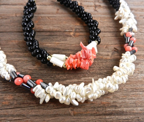 Vintage Beaded Necklace & Bracelet  - Coral, Mother of Pearl, Hematite Costume Jewelry / Dainty Demi Parure. $18.00, via Etsy.