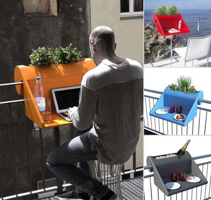 balcony railing table; it simply hooks over the rail creating a temporary desk or table.