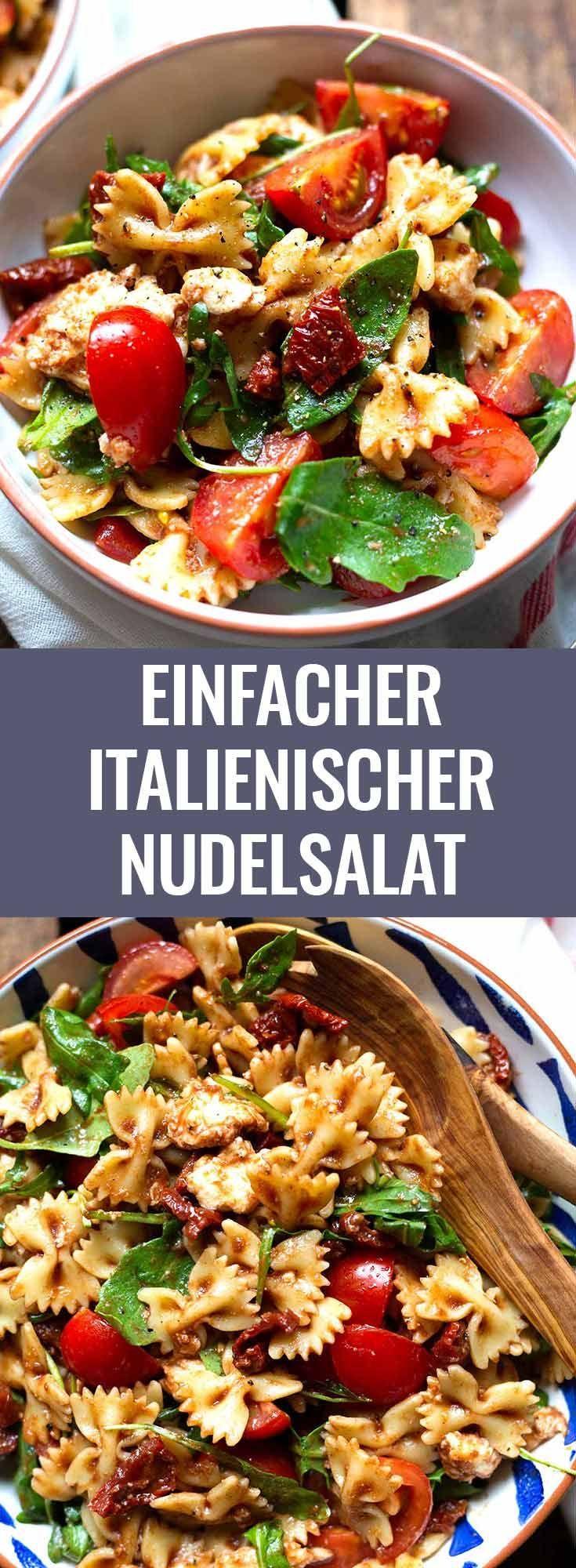 Italienischer Nudelsalat mit Tomaten, Rucola und Mozzarella