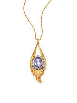 Alexis Bittar Crystal Teardrop Pendant Necklace QTdbr