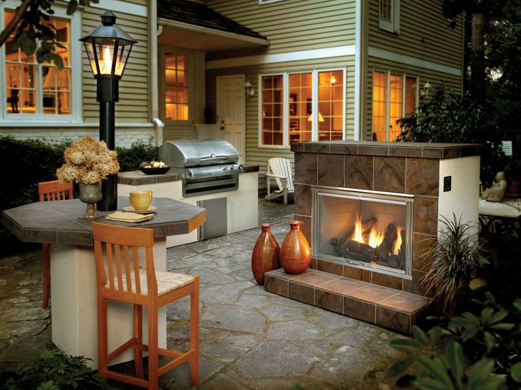 Exterior Design, Awesome Practical Outdoor Gas Fireplace With Compact  Outdoor Kitchen Ideas Also Classic Bar Stools And Natural Stone Flooring  Along With ...
