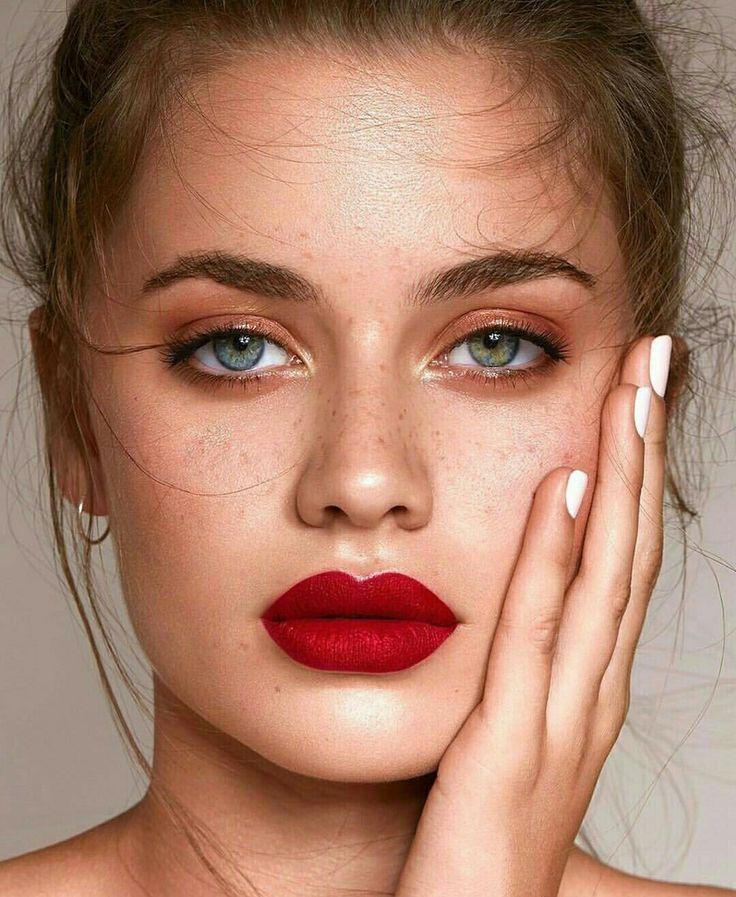 фото макияжа с красными губами только модели