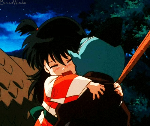 25 Unique Inuyasha Love Ideas On Pinterest: Little Human Rin Holding Jaken, So Worried He Is Going To