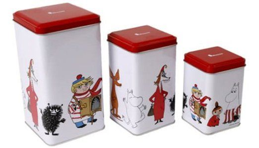 Set of 3 Moomin Kitchen Food Storage Tin Canisters Boxes Jars by Moomin Characters TM (Finland)