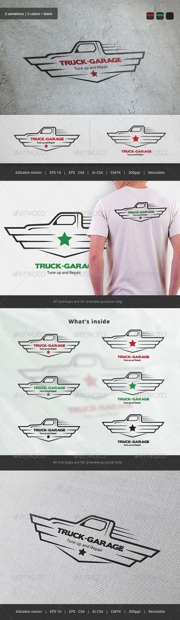 Truck Garage Crest Logo — Vector EPS #truck #vehicle • Available here → https://graphicriver.net/item/truck-garage-crest-logo/5747397?ref=pxcr