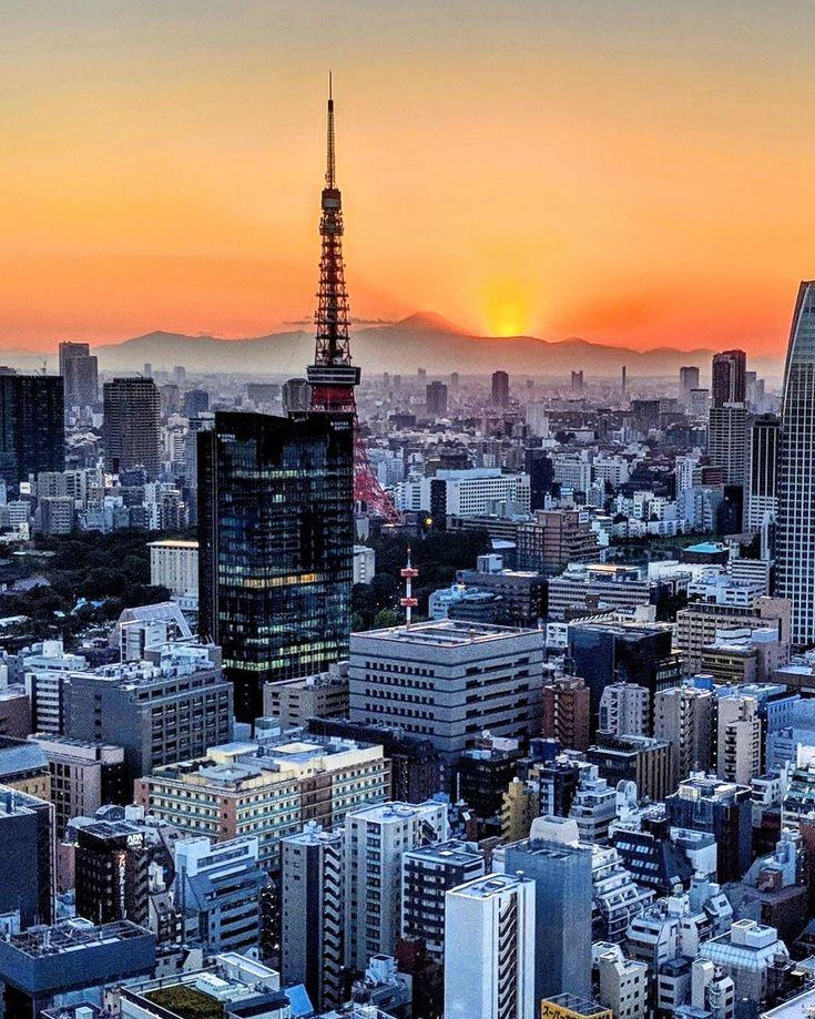 Sunrise over Mount Fuji taken from Tokyo. #travel …