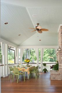 Vaulted Pale Blue Beadboard Ceiling Hip Roof