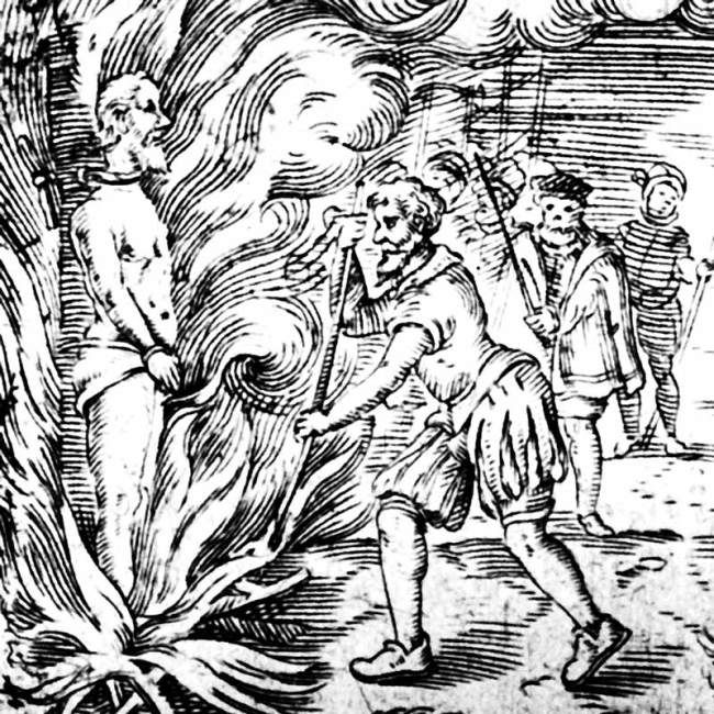 The Burning at the Stake of Michael Servetus at the recommendation of John Calvin for heresy