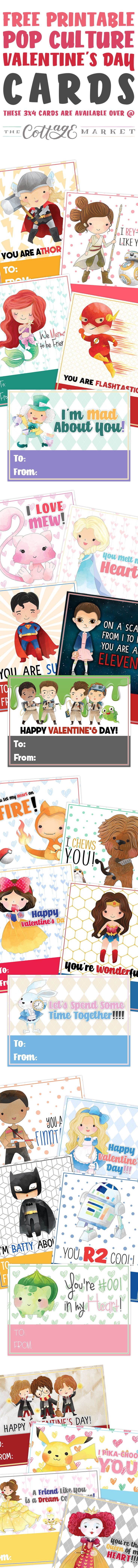 Come and get your Free Printable Pop Culture Valentine's Day Cards to hand out to your friends and of course they are picture perfect for the Kids to hand out to their friends...home and at school. Something for everyone! ENJOY!