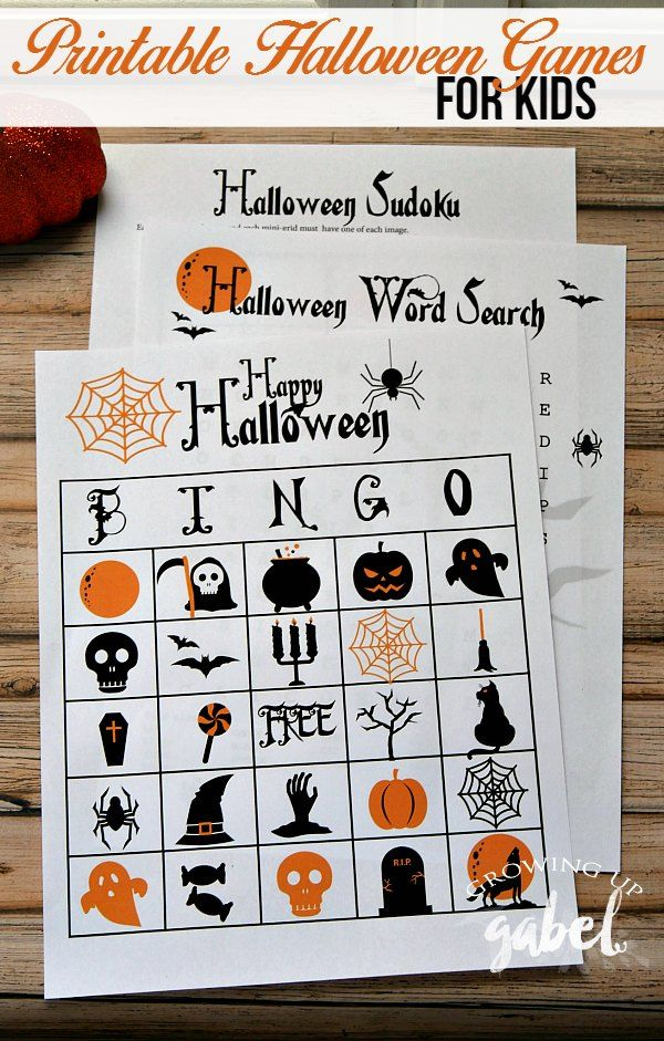 Free printable games make fun Halloween activities for kids! A Halloween word…