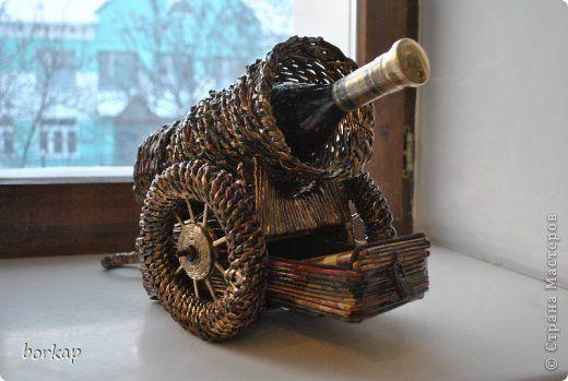 Поделка изделие День рождения Плетение Пушка из газетных трубочек Бумага газетная фото 3