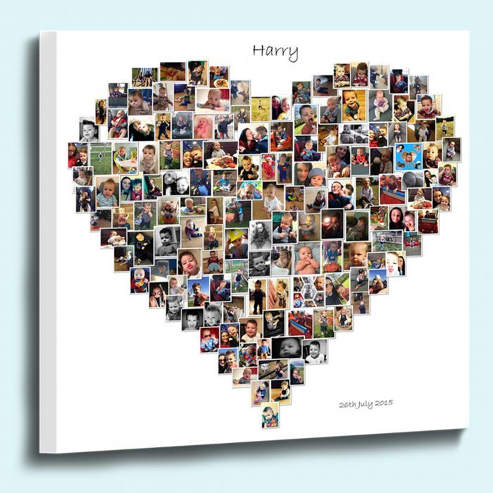 Personalised Love Heart Shaped Photo Collage Box Framed Canvas Print Create a beautiful keepsake canvas print using between 40 and 150 special photographs of your choice. This heart shaped canvas print is a unique gift idea to treasure your special memories. £29.00