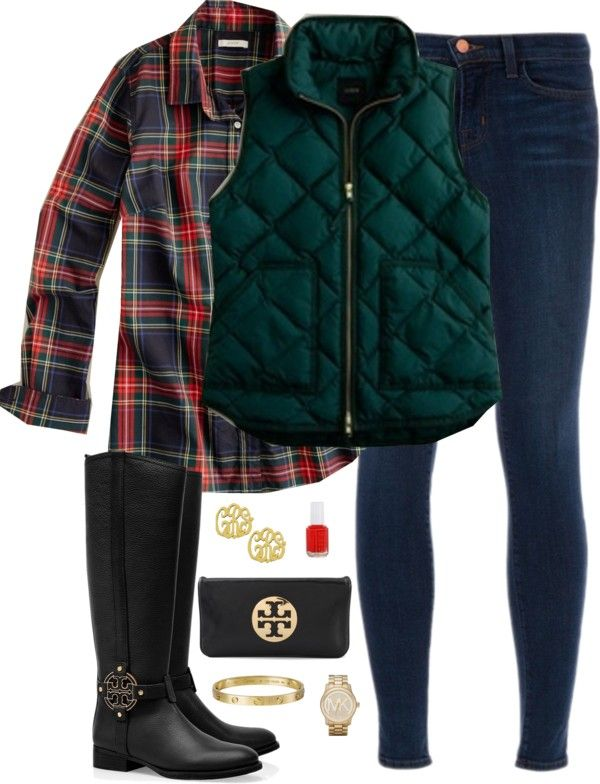 Ek!  And I can have my dark green quilted vest with plaid, too?!  Ek!  Outfit love!