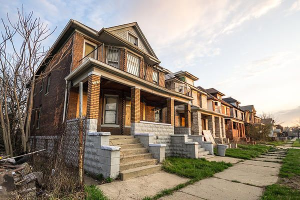 Abandoned Detroit Neighborhood - Priya Ghose - This is a photograph of one of many abandoned and mostly neighborhoods in Detroit, Michigan, taken as the sun began to rise.