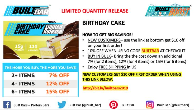 Limited quantity release of birthday cake built bars are