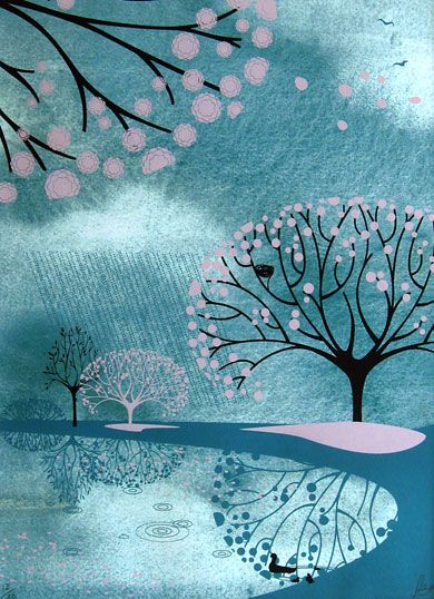 Spring Shower - Sally Elford - Three colour Silk screen print over a high quality print of watercolour texture.