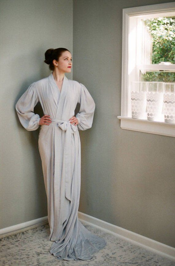 2a1cab7cbf One custom made floor length long robe in faux silk crepe with pockets for tall  women  Greysilklingerie  bishopsleevedress  bridallingerie with full  paneled ...