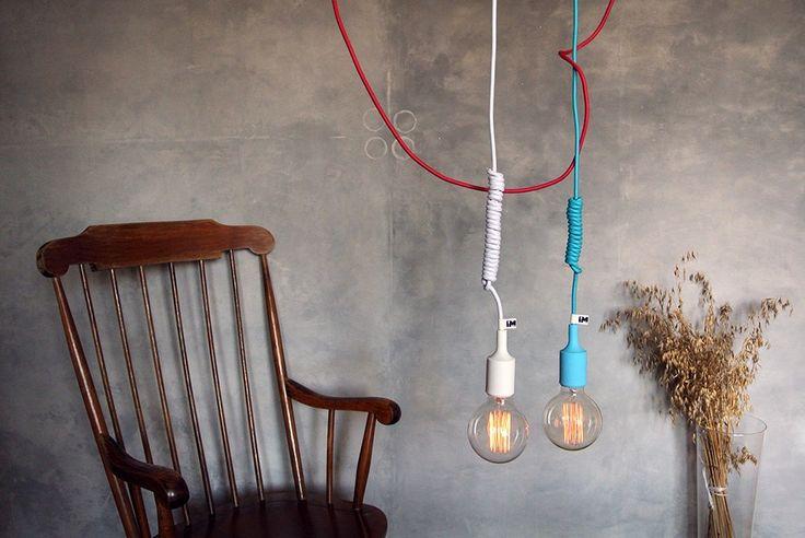 Kolorowe kable, lampy loft, kable w oplocie, żarówki dekoracyjne, nowoczesne oświetlenie - http://www.sklep.imindesign.pl/nasze-galerie/nowoczesne-wnetrza