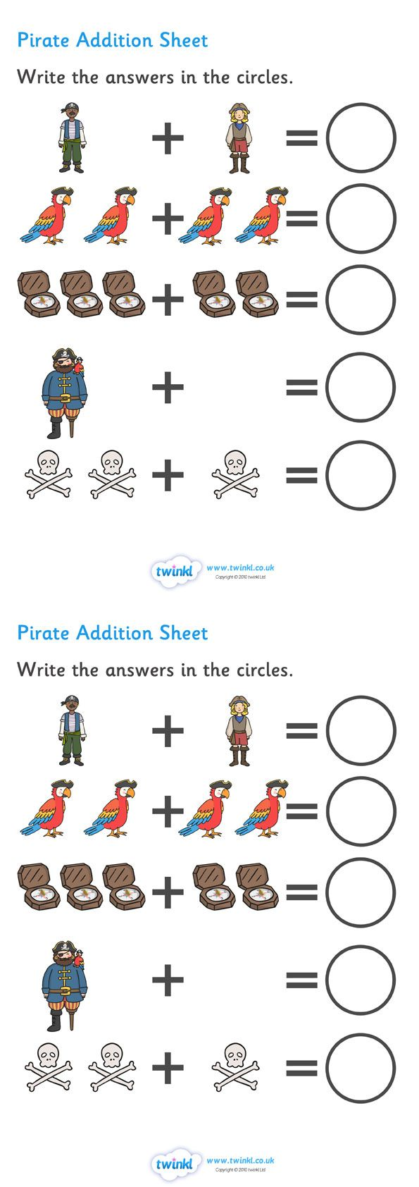 Twinkl Resources >> Pirate Addition Sheet  >> Classroom printables for Pre-School, Kindergarten, Elementary School and beyond! Worksheets, Math, Pirates