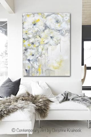 "Art, Painting ""Purity"" Original Yellow Grey Abstract Painting Contemporary Coastal Floral Artwork Modern Palette Knife Paintings. Stunning coastal abstract soft yellow grey & white flower painting w/ a subtle palette, an elegant, casual sophistication - perfect to enhance any decor.  White, grey, yellow, gold, taupe gallery fine art, wall decor. Mixed media acrylic on 30x40x1.5"" Artist, Christine Krainock"