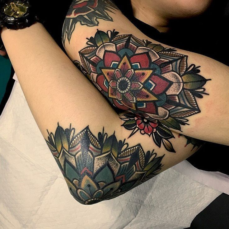 Traditional elbow mandalas by Mico Tattooer .