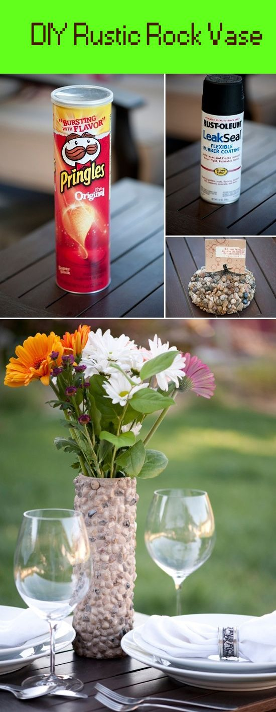 DIY Rustic Rock Vase for those beautiful garden flowers.