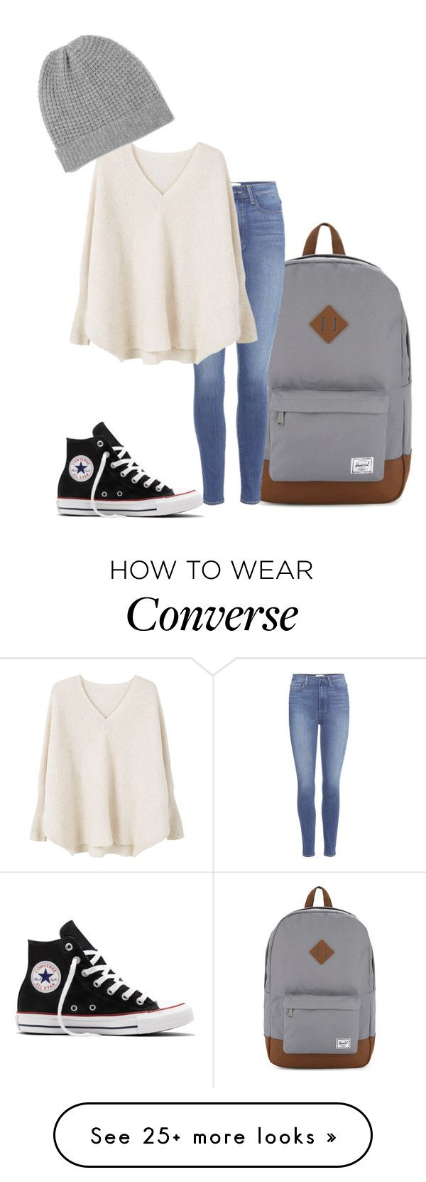 """""""Untitled #47"""" by thelemonwolf on Polyvore featuring Herschel Supply Co., Converse, Paige Denim, MANGO and Madeleine Thompson"""