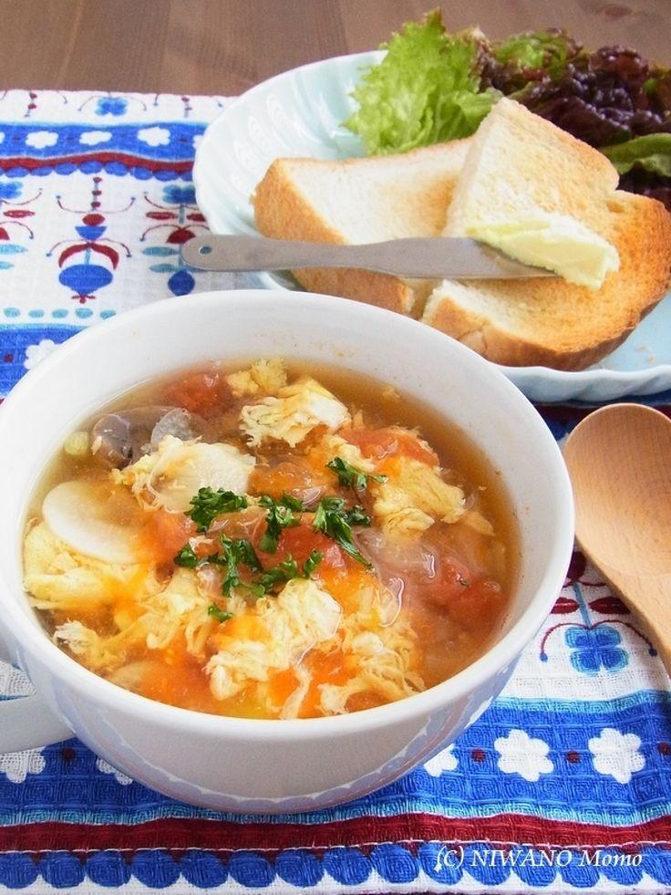 にんにくとトマトのふわふわ卵スープ by 庭乃桃 | レシピサイト「Nadia | ナディア」プロの料理を無料で検索