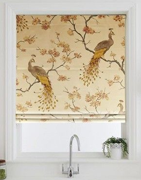 Bird Parade Gold Roman Blind