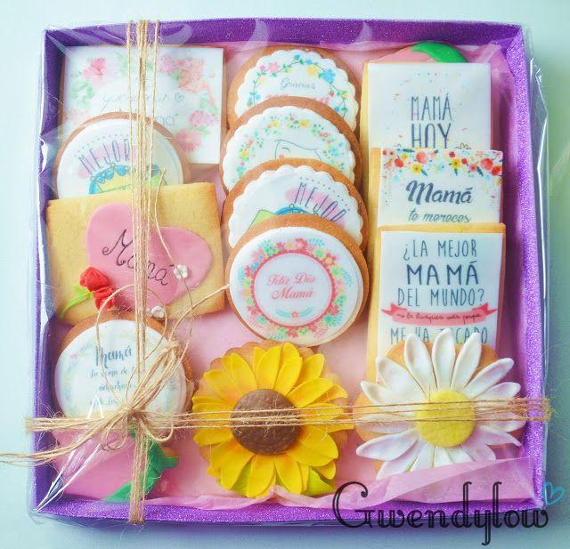 Galletas para el día de la Madre - Masa Sableux, impresiones comestibles y fondant.