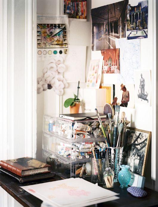 Painter Mary Nelson Sinclair's artist corner~Image via Lonny Magazine