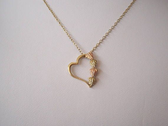 Todays Special Value Vintage Black Hills Gold Heart Pendant With Leaves And Bling