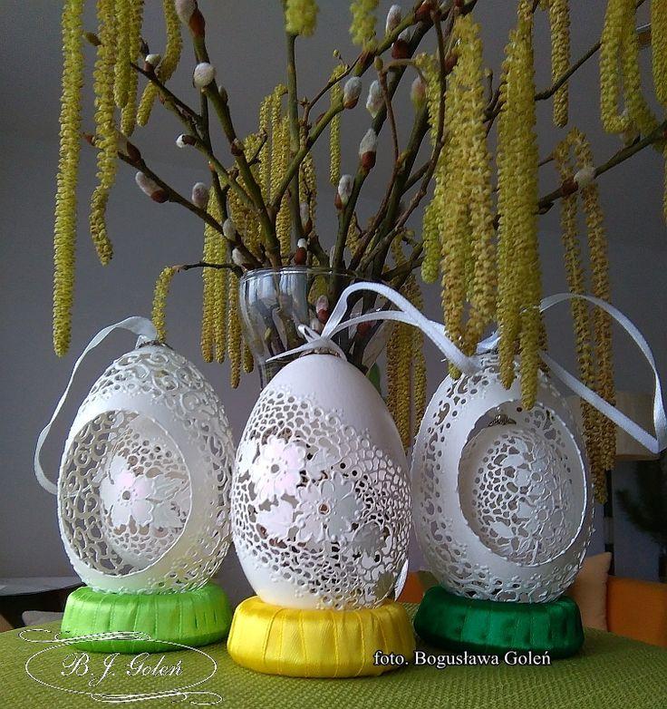 autor BJGoleń - wydmuszki gęsie ażurowe- european egg art