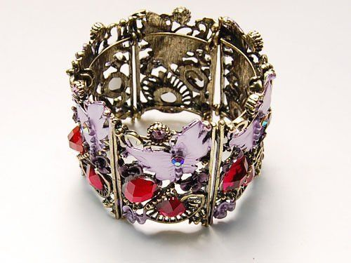 Antique-Inspired Costume Jewelry Purple Enamel Paint Butterfly Cuff Bracelet Alilang. $15.99