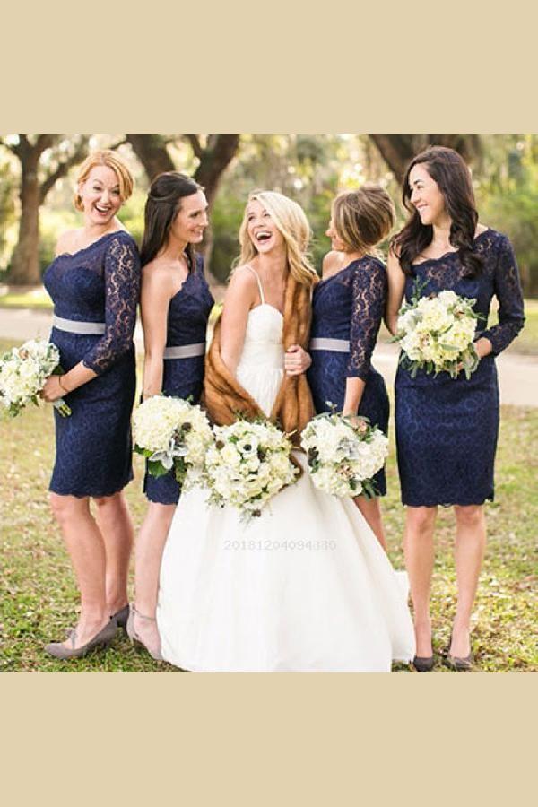 Outlet Absorbing Navy Blue Bridesmaid Dress, Bridesmaid Dress Cheap, Bridesmaid Dress Blue, Lace Bridesmaid Dress
