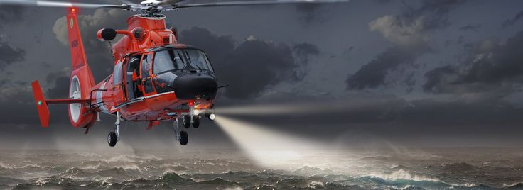 """EADS """"EUROCOPTER"""" US COAST GUARD  An example of how a fairly mundane image can be transformed into a dramatic and emotive scene. The original shows a US Coast Guard 'chopper performing a standard landing approach. By inserting dark menacing storm clouds and choppy waters, the scene has been completely transformed. Now, switch on the search light, and for sure we know someone is lost at sea and in desperate need of assistance; time is of the essence as the crew perform this treacherous…"""