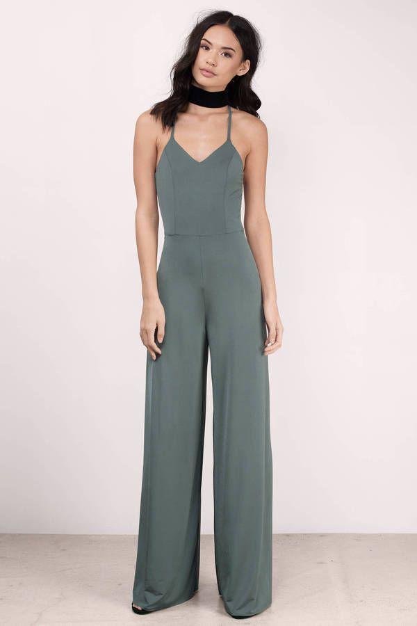 """Shop the """"Dangerous Woman Olive Jersey Knit Jumpsuit"""" on Tobi.com! layer chic fashionable stylish style outfit one piece summer spring fall winter date beach night out"""