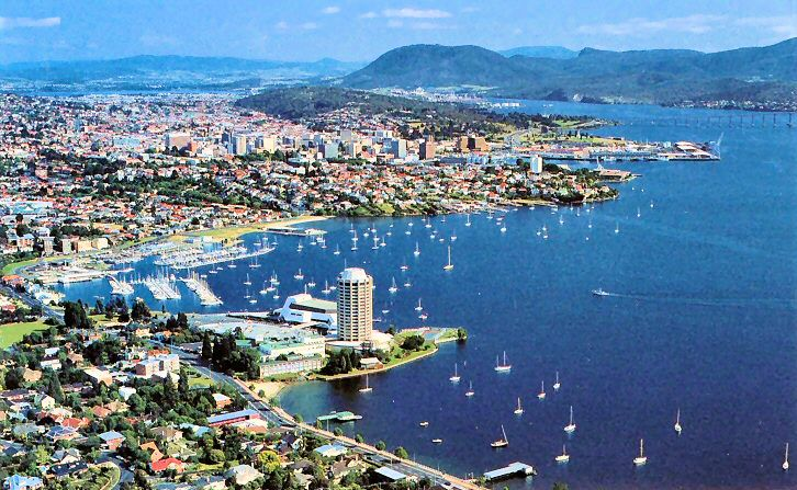 - Hobart, Tasmania, Australia...Tasmania has my heart! Was crazy seeing a US aircraft carriers anchored in this beautiful bay.