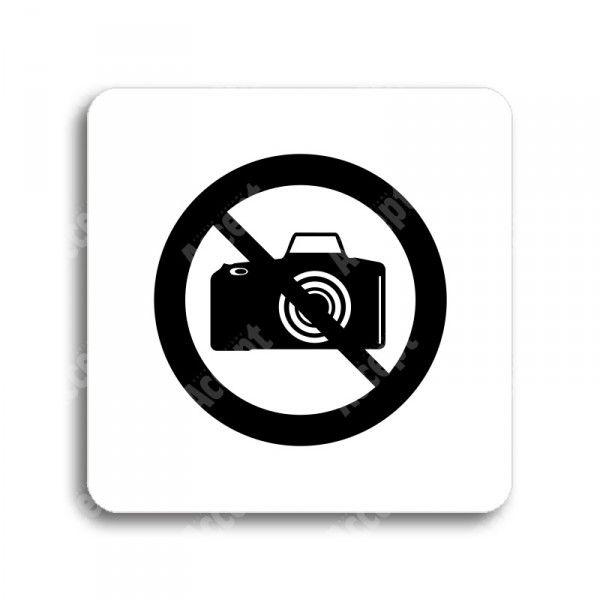 """Piktogram """"zákaz fotografování"""" - bílá tabulka - černý tisk bez rámečku"""