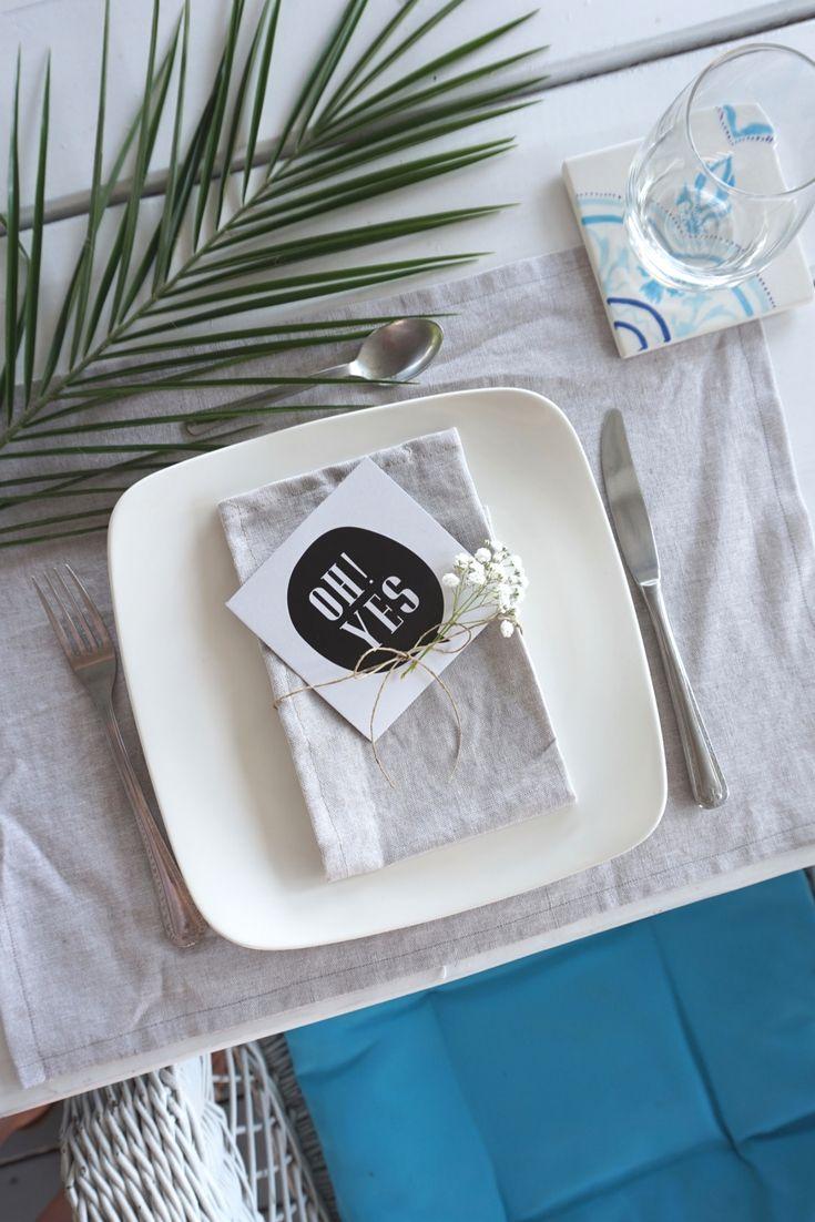 Basic linen placemat + linen napkin. Tile from @madebyyou Budapest, Hungary