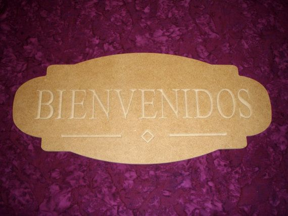 "Bienvenidos Sign Unfinished Wood Plaque Cut Out Wooden MDF Paintable 8"" x 18"" Inch"