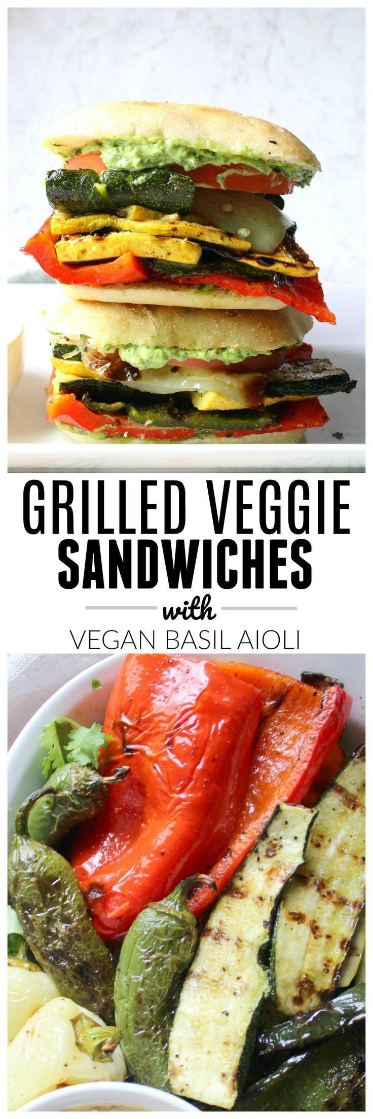 Grilled Veggie Sandwich with Vegan Basil Aioli